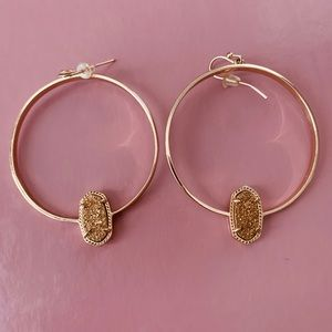 Kendra Scott Elora Gold Hoop Earrings In Drusy